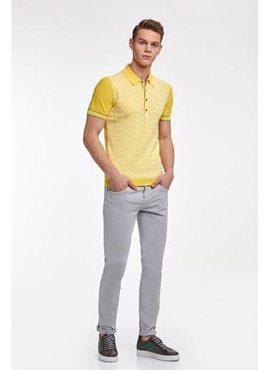 Hemington Desenli Sarı Pamuk Triko Polo Sarı